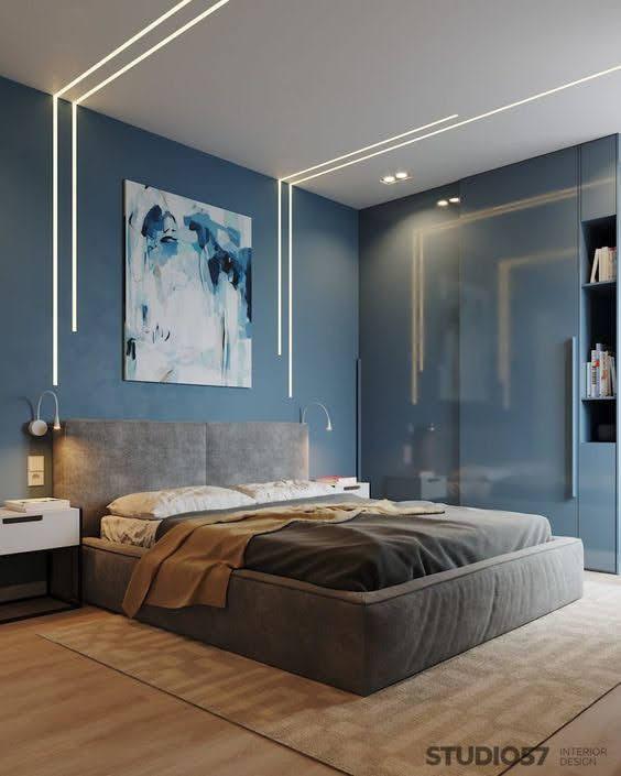plava akrilna boja u spavacoj sobi