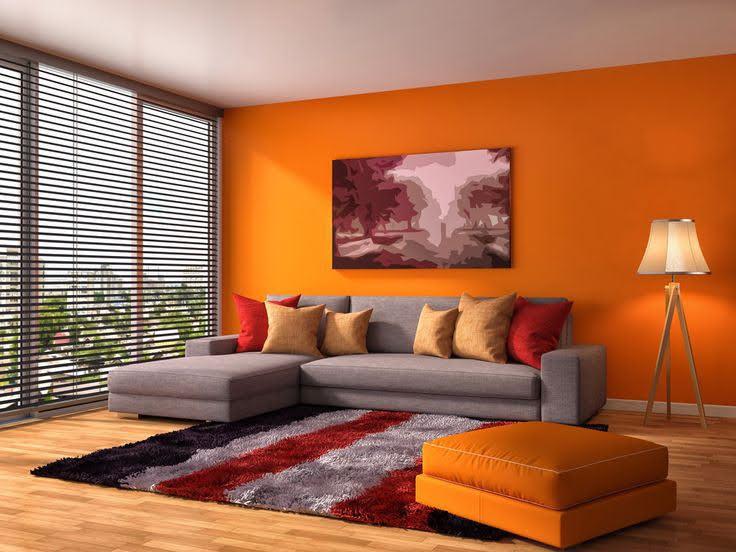 narandzasti zidovi u dnevnoj sobi